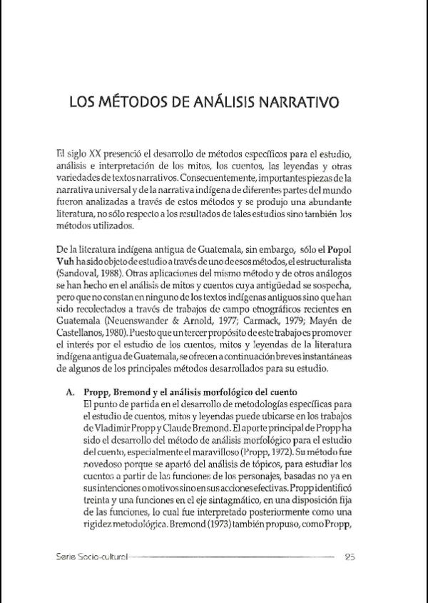Pdf Los Métodos De Análisis Narrativo Tecnicas