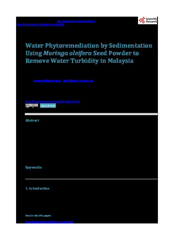 Pdf Water Phytoremediation By Sedimentation Using Moringa Oleifera Seed Powder To Remove Water Turbidity In Malaysia Halimi Saud Academia Edu