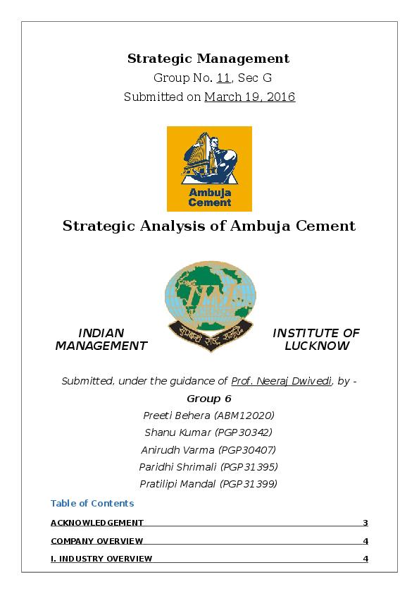 DOC) AmbujaCement | ANIRUDH VARMA - Academia edu