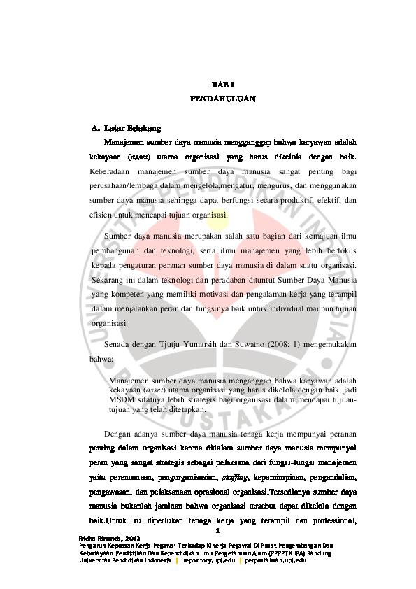 Pdf Contoh Skripsi Sdm Bab I 040416 Dien Din Academia Edu