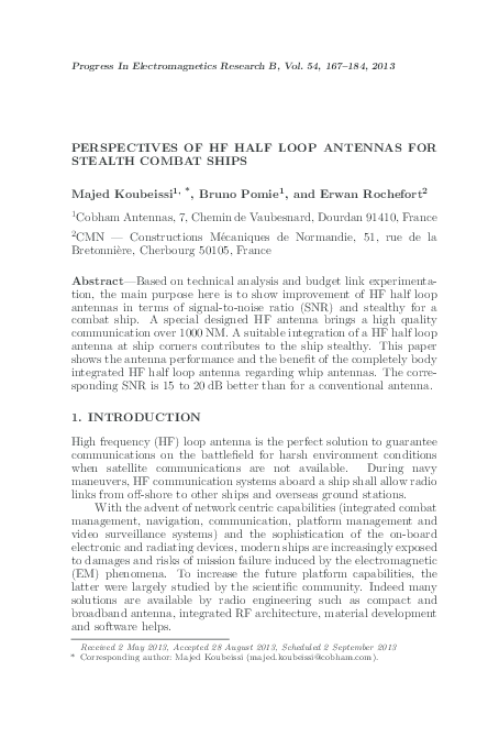 PDF) Perspectives of HF Half Loop Antennas for Stealth Combat Ships