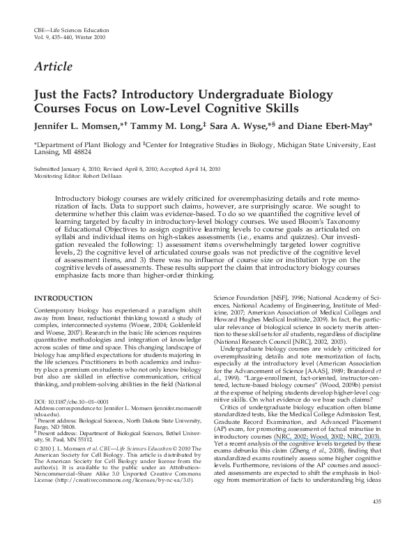 PDF) Just the Facts? Introductory Undergraduate Biology