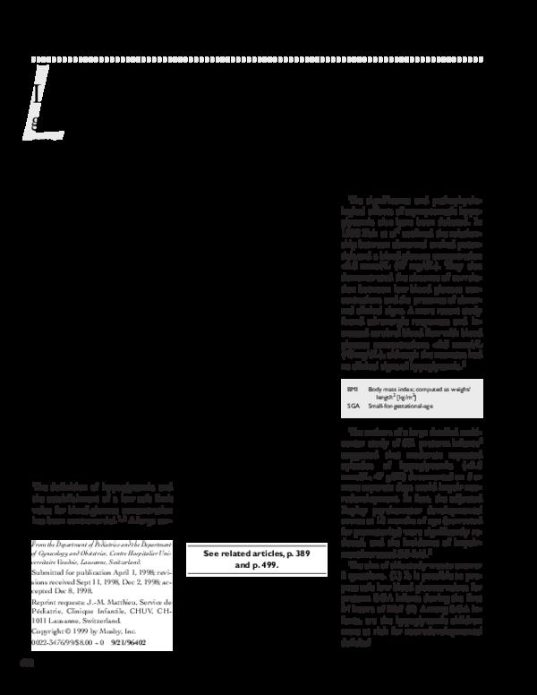 PDF) Long-term effects of neonatal hypoglycemia on brain