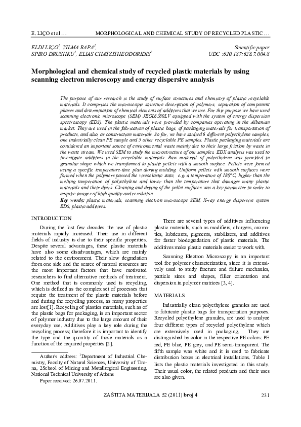PDF) Morphological and chemical study of recycled plastic materials