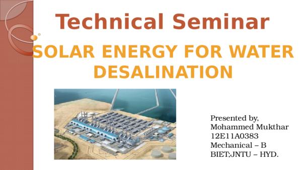PPT) Solar Energy for Water Desalination | Mohammed Mukthar