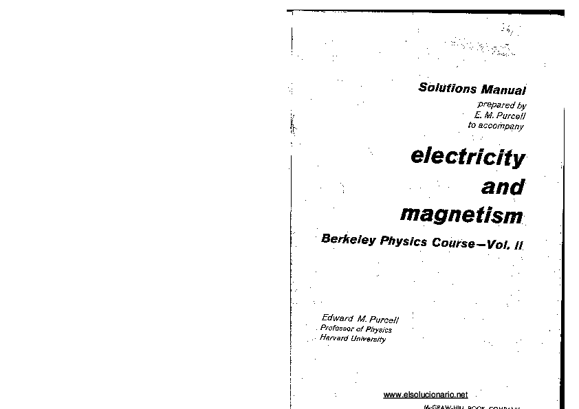 PDF) Edward Purcell Solution Manual Electricity and
