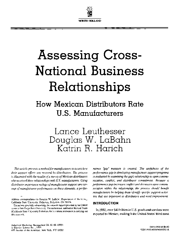 PDF) Assessing cross-national business relationships: How Mexican