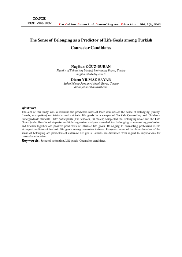 PDF) The Sense of Belonging as a Predictor of Life Goals among