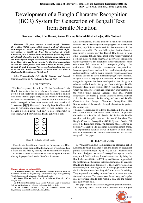 PDF) Development of a Bangla Character Recognition (BCR) system for  generation of Bengali text from braille notation   Santanu Halder and Mita  Nasipuri - Academia.edu