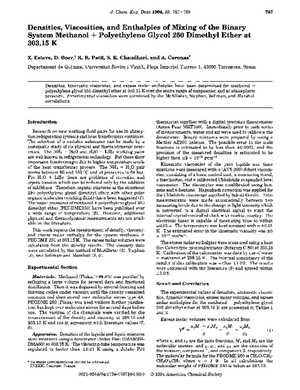 PDF) Densities, viscosities, and enthalpies of mixing of the