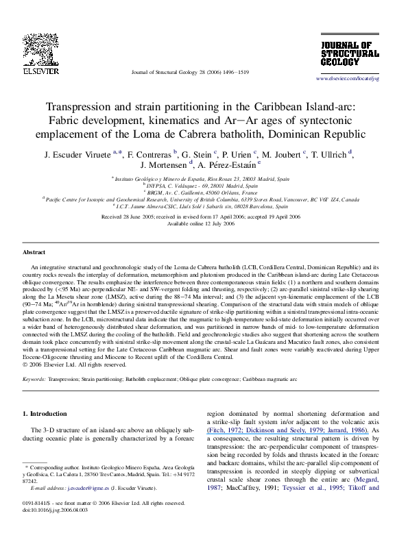 Pdf Transpression And Strain Partitioning In The Caribbean