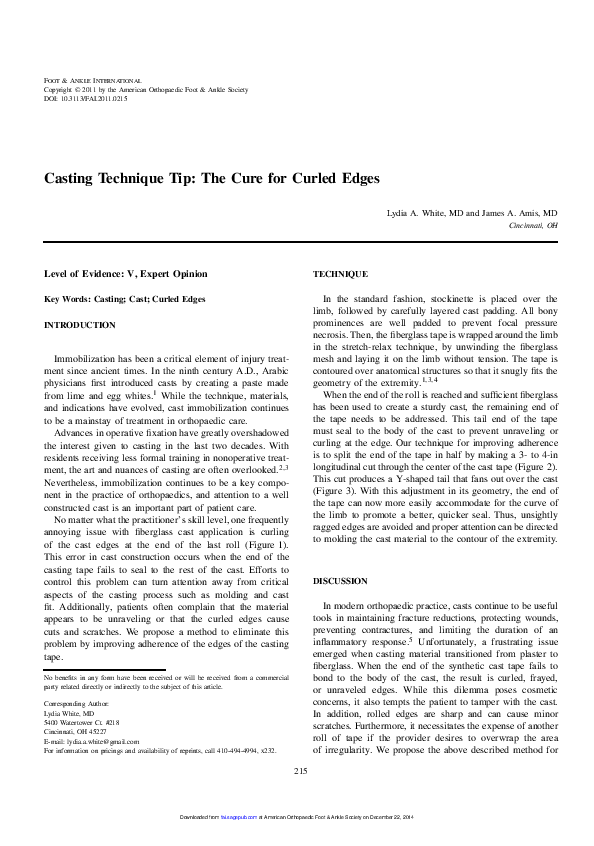 PDF) Casting Technique Tip: The Cure for Curled Edges