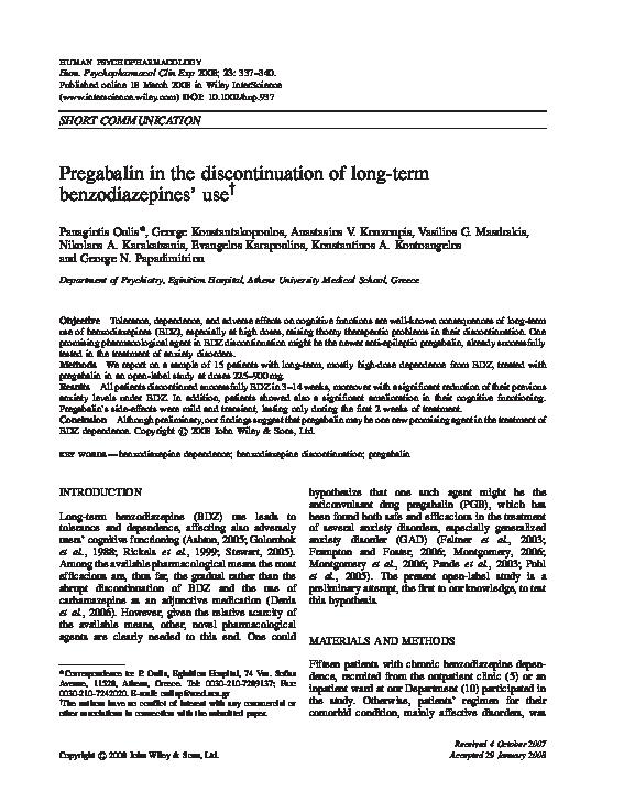 PDF) Pregabalin in the discontinuation of long-term