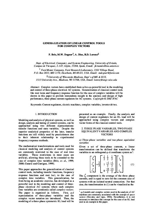 Pdf Generalization Of Linear Control Tools For Complex Vectors Fernando Briz Academia Edu
