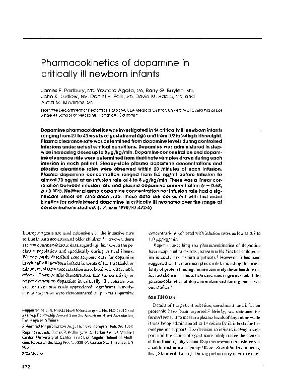 PDF) Pharmacokinetics of dopamine in critically ill newborn