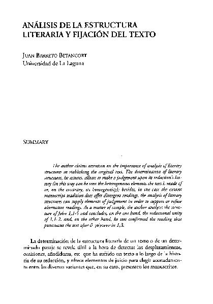 Análisis De La Estructura Literaria Y Fijación Del Texto