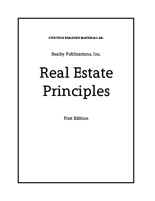 Pdf Real Estate Principles First Edition Sana Ali