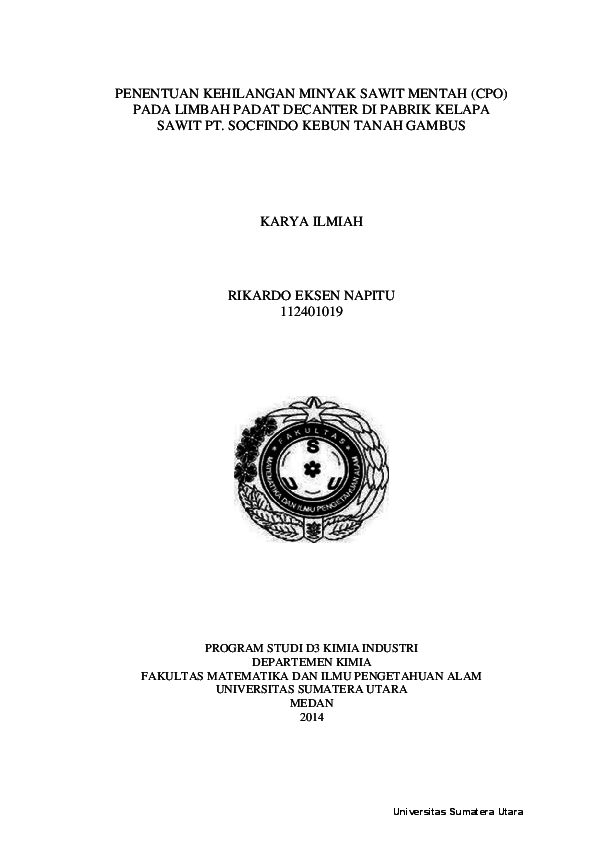 Pdf Laporan Kerja Praktek Di Pabrik Kelapa Sawit Ronald Rinto Academia Edu