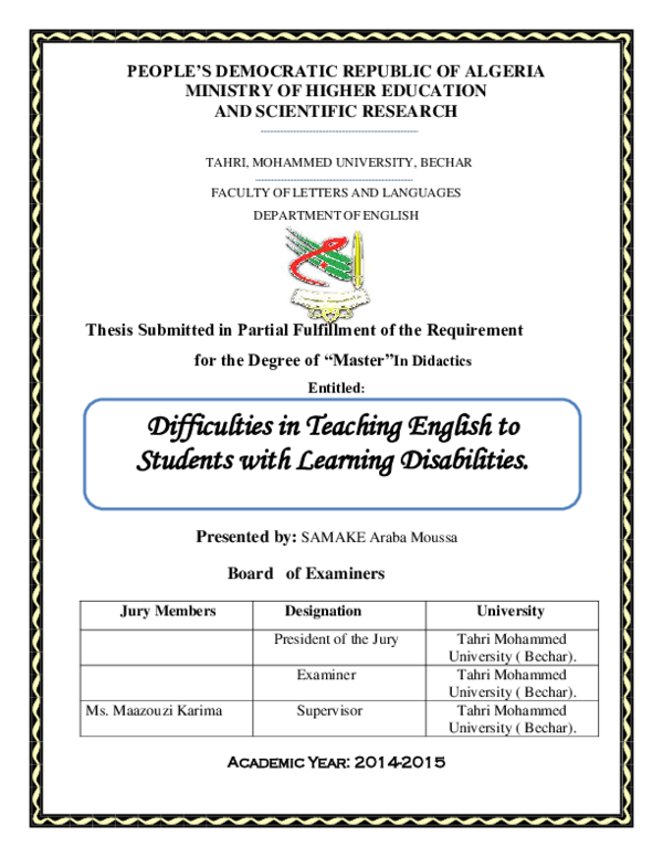 Pdf People S Democratic Republic Of Algeria Ministry Of Higher Education And Scientific Research Thesis Submitted In Partial Fulfillment Of The Requirement For The Degree Of Master In Didactics Entitled Board