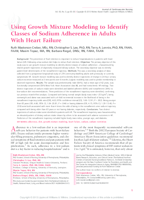 PDF) Using Growth Mixture Modeling to Identify Classes of Sodium