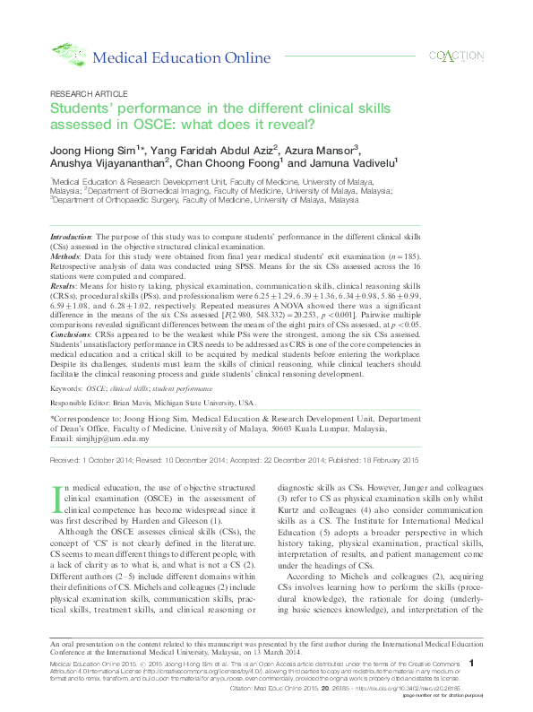 PDF) Students' performance in the different clinical skills