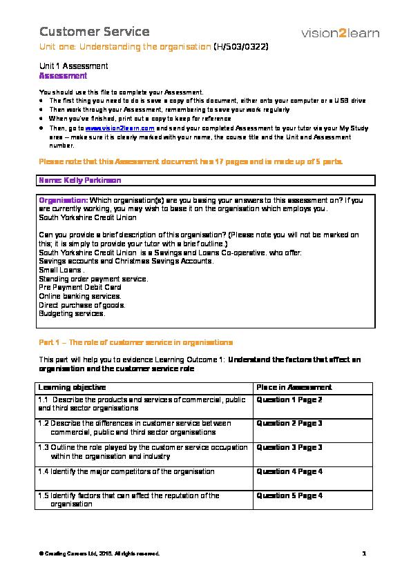 Unit 1 understanding the organisation