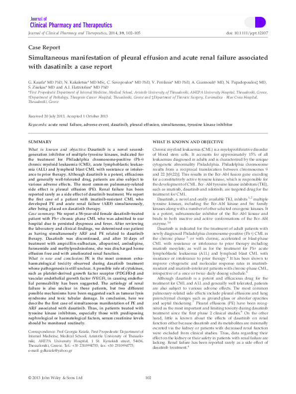 Pdf Simultaneous Manifestation Of Pleural Effusion And Acute Renal Failure Associated With Dasatinib A Case Report Vasilios Perifanis Academia Edu