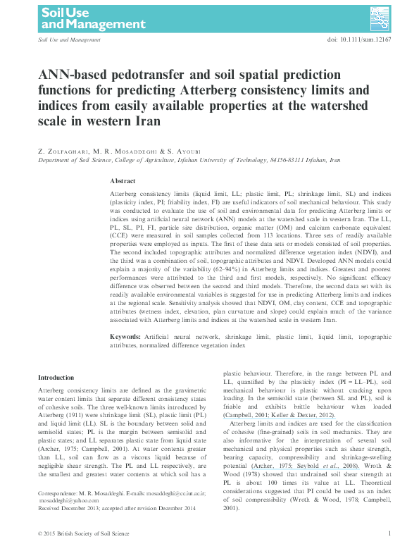 PDF) ANN-based pedotransfer and soil spatial prediction