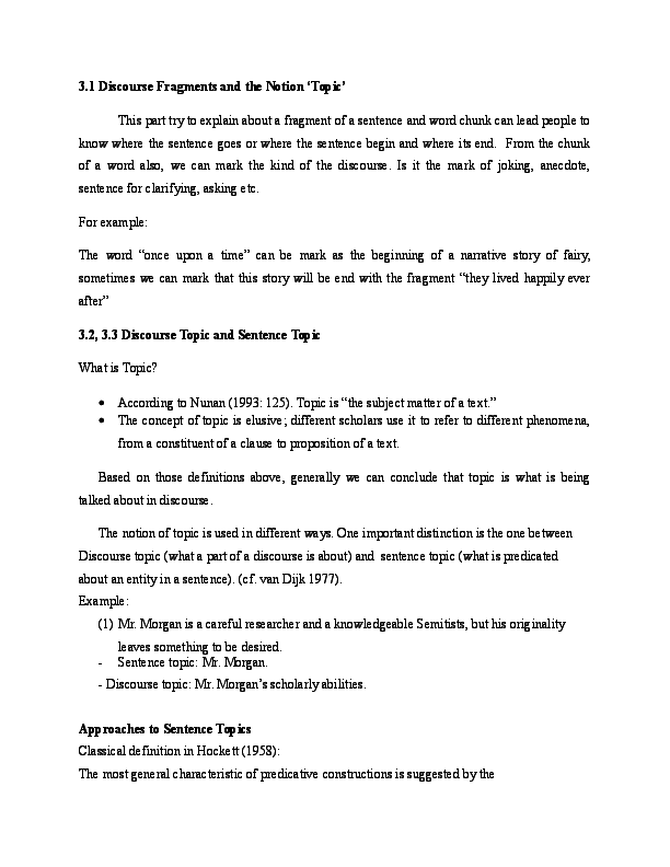 DOC 31 Discourse Fragments And The Notion Topic