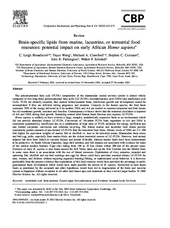 PDF) Brain-specific lipids from marine, lacustrine, or terrestrial