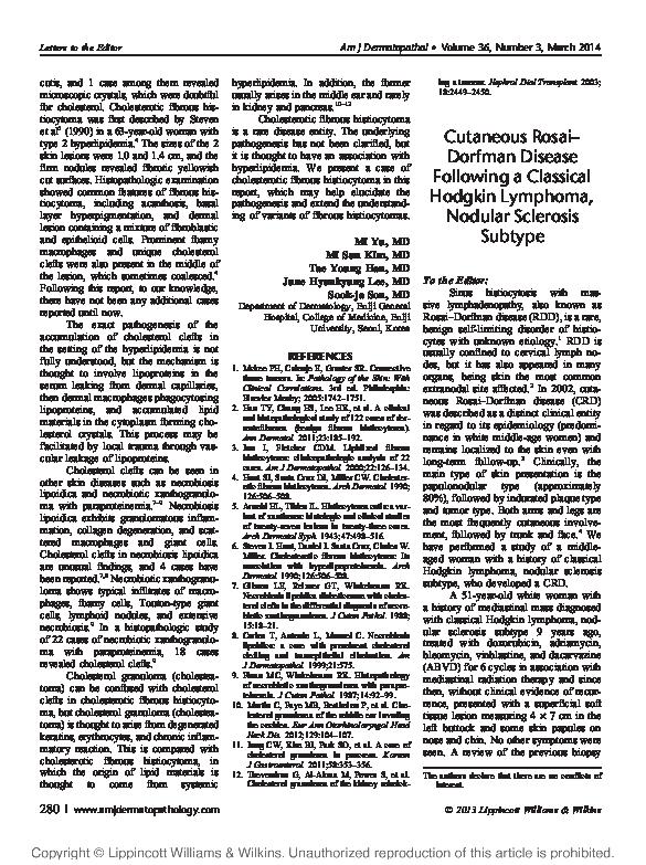 PDF) Cutaneous Rosai–Dorfman Disease Following a Classical