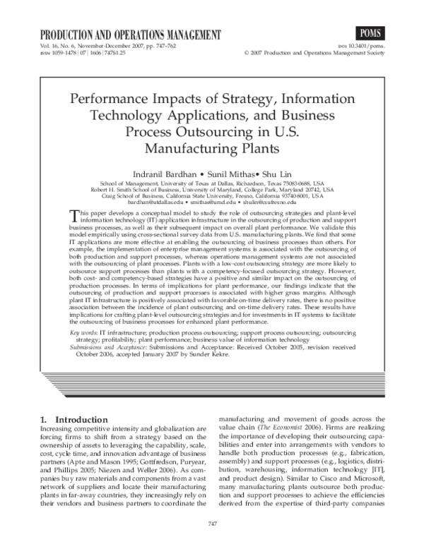 PDF) Performance Impacts of Strategy, Information Technology