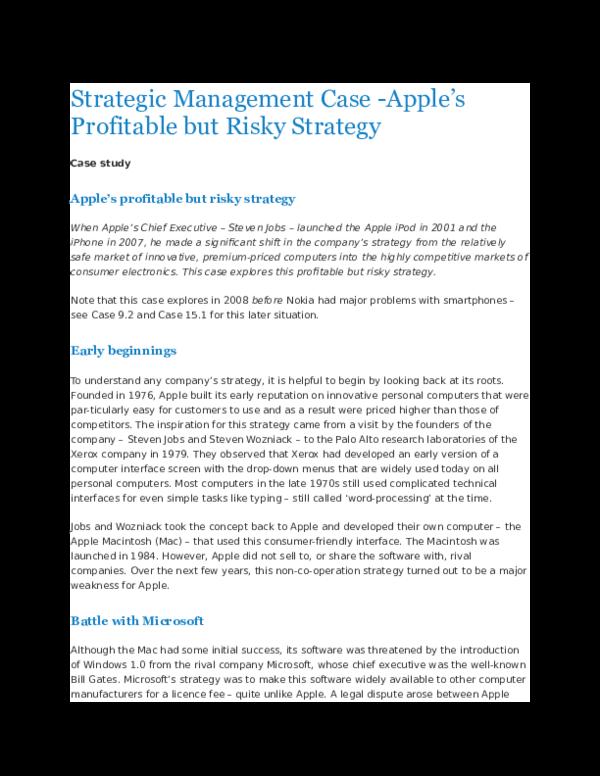 DOC) Strategic Management Case - Apple's Profitable but Risky