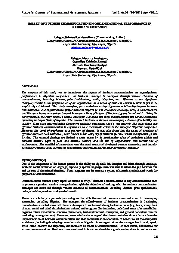 PDF) IMPACT OF BUSINESS COMMUNICATION ON ORGANIZATIONAL