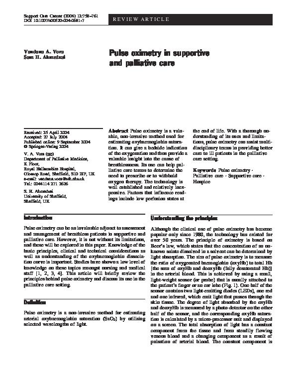 PDF) Pulse oximetry in supportive and palliative care | Sam