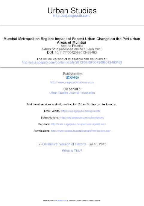 PDF) Mumbai Metropolitan Region: Impact of Recent Urban