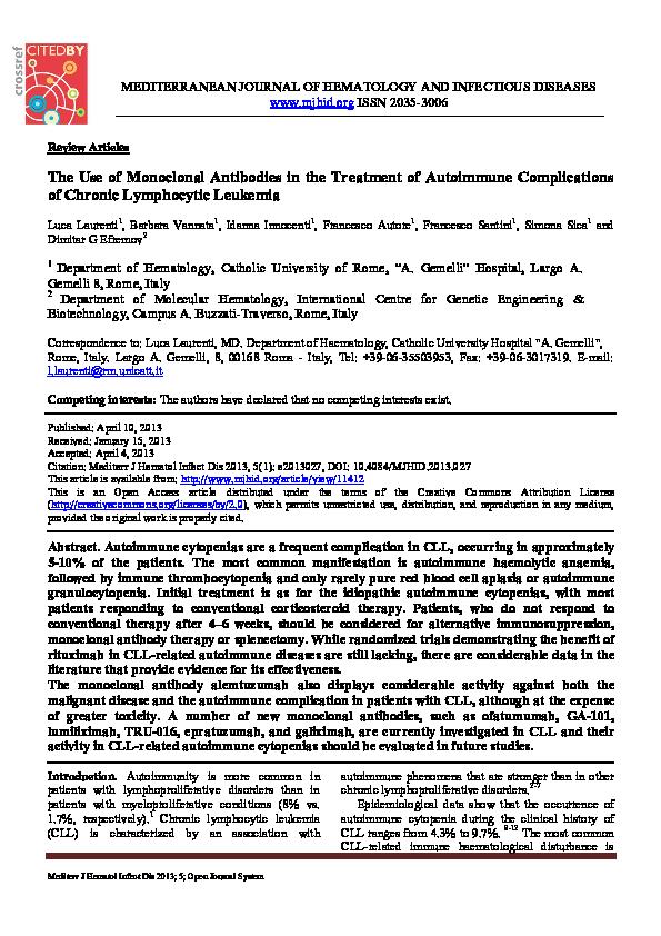 PDF) The use of monoclonal antibodies in the treatment of autoimmune