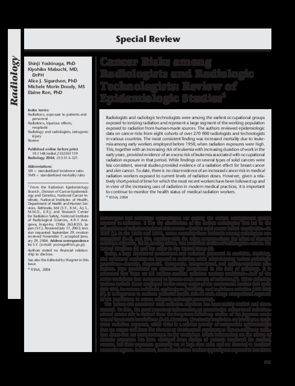 PDF) Cancer Risks among Radiologists and Radiologic Technologists