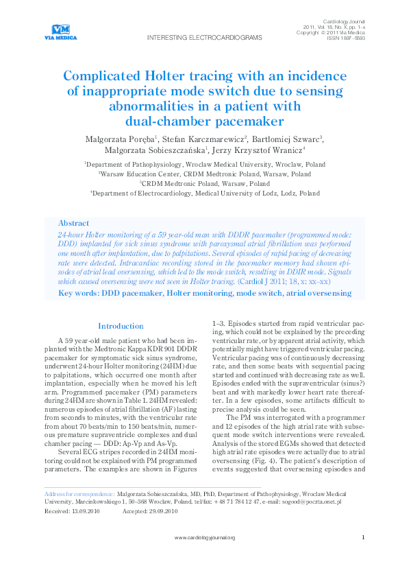 PDF) Complicated Holter tracing with an incidence of