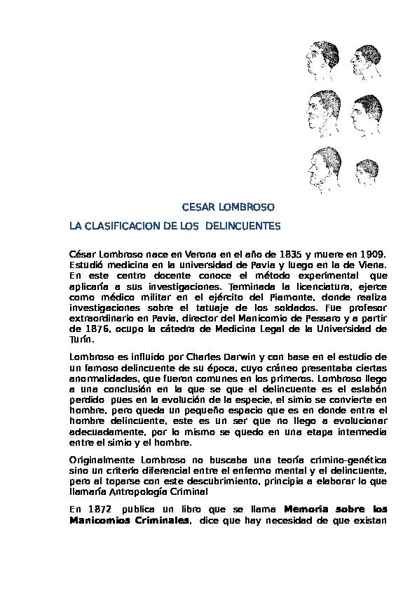 Doc Cesar Lombroso La Clasificacion De Los Delincuentes Lusman Gonzalez Academia Edu