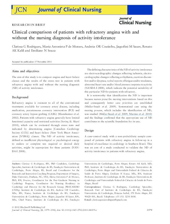 PDF) Nursing diagnosis of activity intolerance: clinical