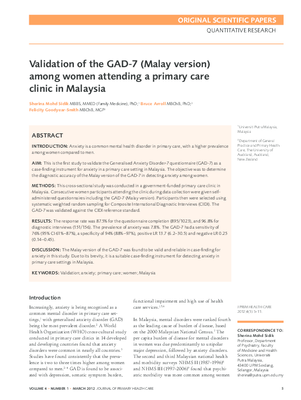 PDF) Validation of the GAD-7 (Malay version) among women attending a
