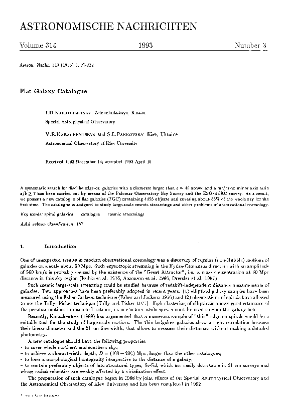 PDF) Flat Galaxy Catalogue | S  Parnovsky - Academia edu