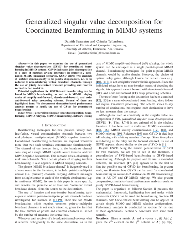 PDF) Generalized Singular Value Decomposition for