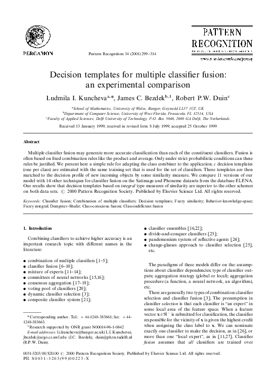PDF) Decision templates for multiple classifier fusion: an