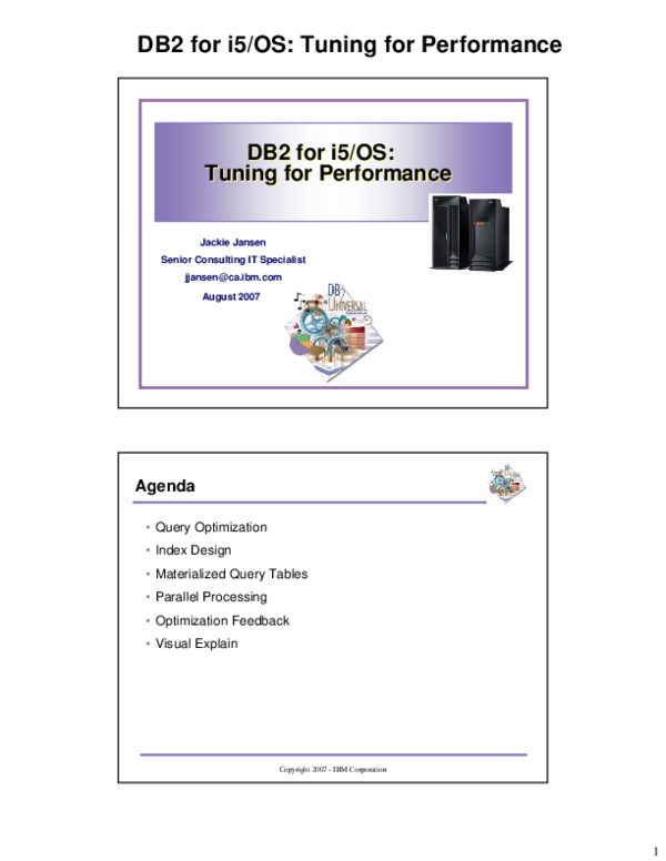 PDF) DB2 for i5/OS: Tuning for Performance DB2 for i5/OS