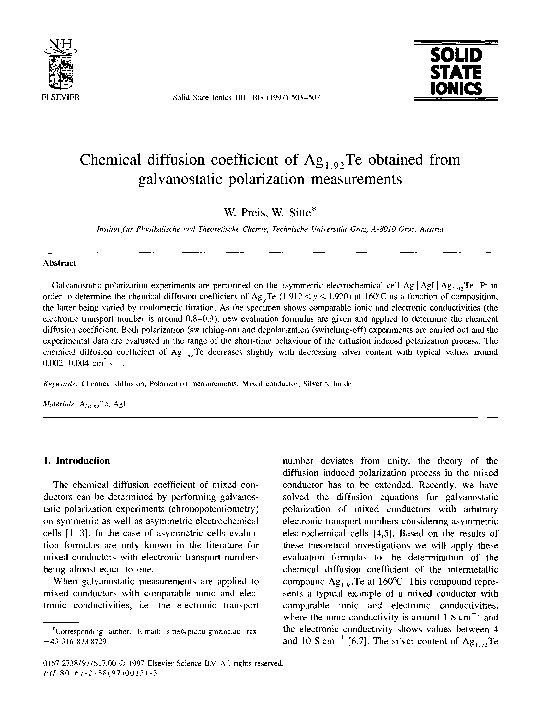 PDF) Chemical diffusion coefficient of Ag1 92Te obtained from