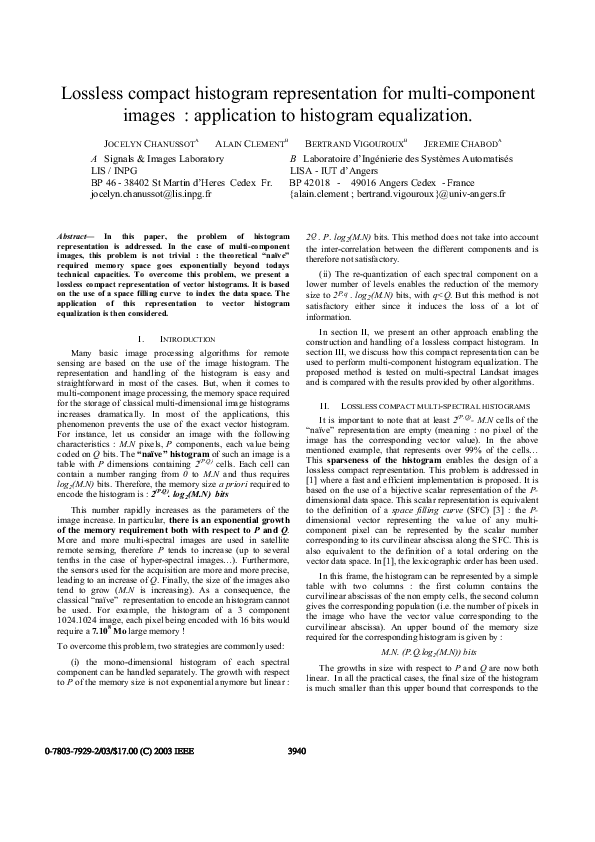 PDF) Lossless compact histogram representation for multi