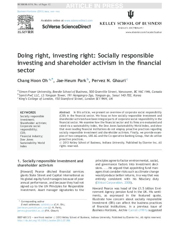 PDF) Doing right, investing right: Socially responsible
