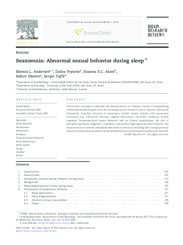 Pdf Sexsomnia Abnormal Sexual Behavior During Sleep Robert Skomro Academia Edu Eleven case histories of patients are presented in this report. academia edu